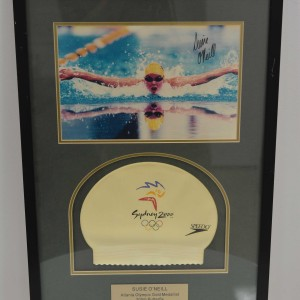 Framed Susie O'Neill Sydney 2000 Olympics swim cap and SIGNED photo