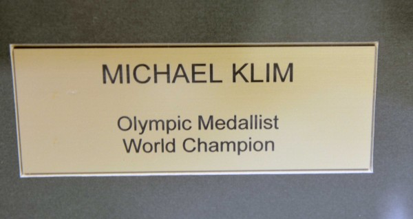 Signed Michael Klim professionally framed photograph and goggles