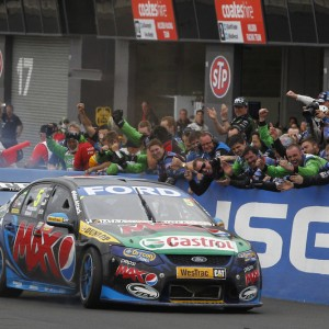 Mark Winterbottom and Steven Richards of Ford Performance Racing winners of the Supercheap Auto Bathurst 1000, event 11 of the 2013 Australian V8 Supercar Championship Series at the Mount Panorama Circuit, Bathurst, New South Wales, October 13, 2013.