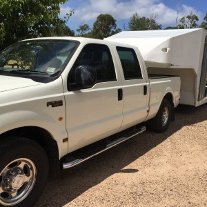 Race Car Trailer and F250 dual cab truck