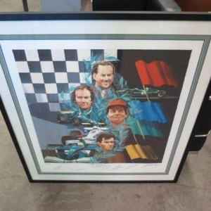 signed print by Australian F1 drivers