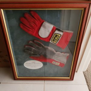 DICK JOHNSON RACING GLOVES FROM 1999-FRAMED-SIGNED TWICE With CERTIFICATE of AUTHENTICITY.
